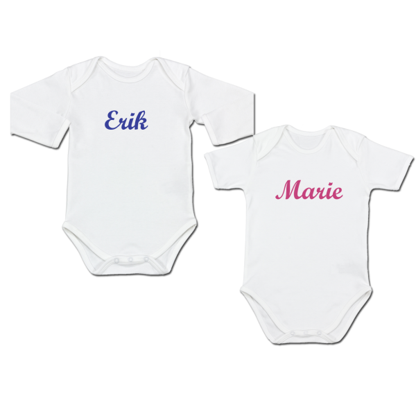 Personalisierter Baby Body mit Namen Kurzarm / Langarm (Junge / Mädchen)