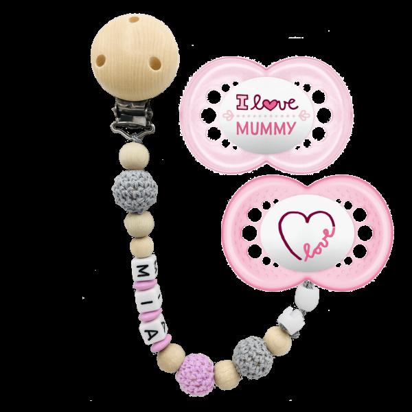 MAM Schnuller I Love Mummy + Schnullerkette mit Namen (Mädchen) Gr. 2 ab 6 Monate