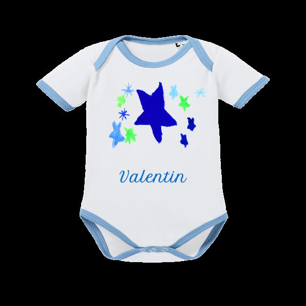 Baby Body mit Namen Stern Kurzarm Junge blau von Schnullireich