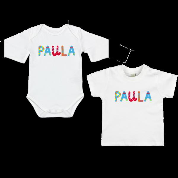 Personalisiertes Baby Shirt / Babybody mit Namen (Junge / Mädchen) Kunterbunte Buchstaben