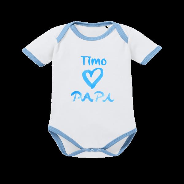 Baby Body mit Namen bedruckt + Motiv I love Papa blau weiß Junge