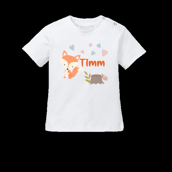 Baby Shirt mit Namen + Fuchs bedrucken (T-Shirt + Langarm)