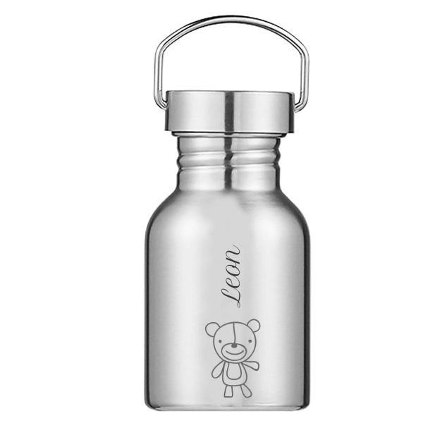 Edelstahl Trinkflasche mit Namen graviert 350 ml für Kinder (Bär / Klassische Schrift)