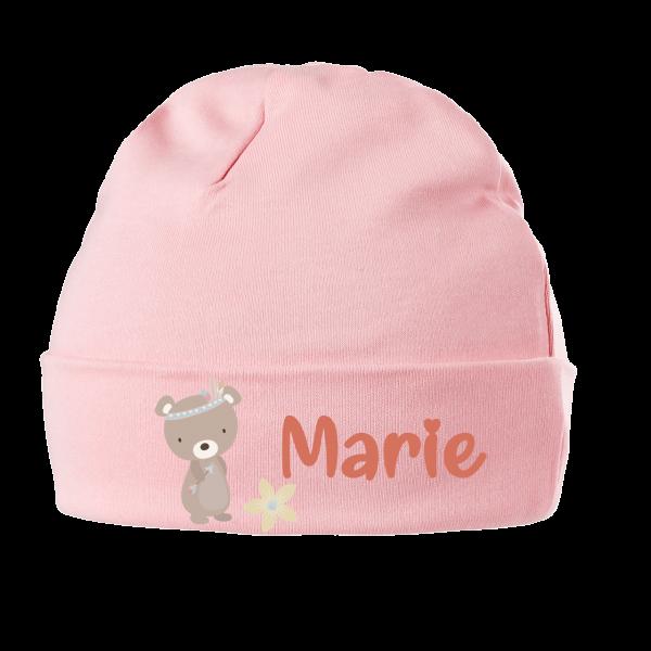 Babymütze mit Namen Bär (Mädchen / Junge) 0-6 / 6-18 Monate