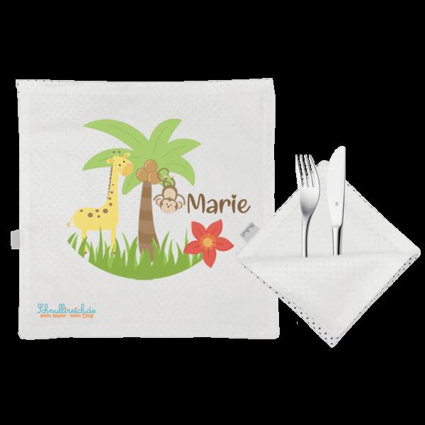 Kinder Platzset Safari mit Namen bedruckt + Stoff Serviette (2-teilig)