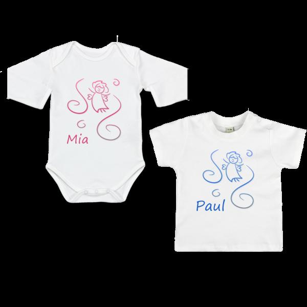 Baby Body T-Shirt mit Namen und Engel Langarm / Kurzarm