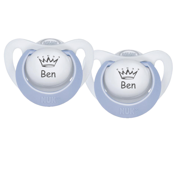 NUK Schnuller mit Namen Ben + Wunschmotiv Krone Gr. 1 0-6 Monate / Gr. 2 6-18 Monate Junge