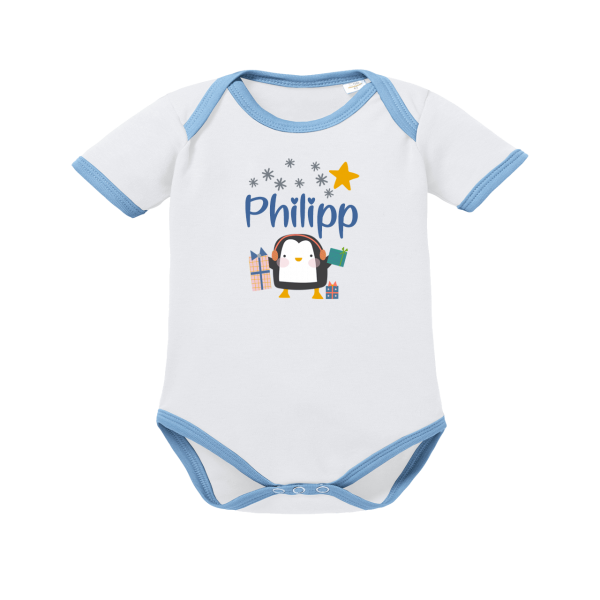 Baby Body mit Namen Winter Pinguin (Junge)