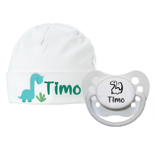 Babymütze mit Namen bedruckt und Schnuller mit Namen im Set - Dino (Junge) Geburtsgeschenk