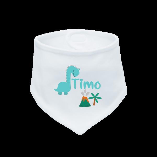 Baby Halstuch mit Namen bedruckt - Dino (Junge) Geburtsgeschenk