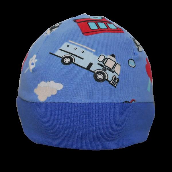 Babymütze Junge Blau mit Autos Handgenäht
