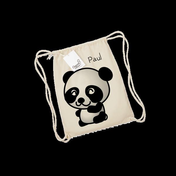 Personalisierbarer Turnbeutel mit Namen + Panda-Bär bedruckt  (Mädchen / Junge)