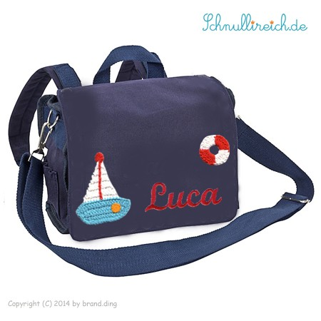 Rucksack-Tasche mit Namen Segelboot (Blau)