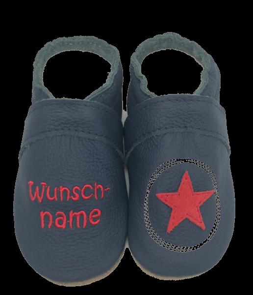 Krabbelschuhe Malkreis mit Stern und Namen in blau Jungs von Schnullireich