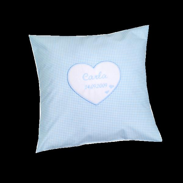 Kuschelkissen mit Namen Herz (Blau)