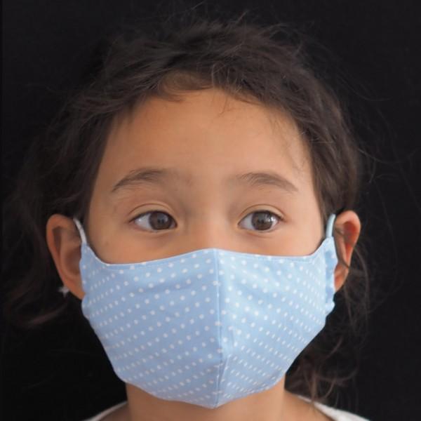 Kinder Behelfs-Schutzmaske für Kinder (Junge / Blaue Punkte) Personalisierbar Schnullireich Kleine-Helden-Maske