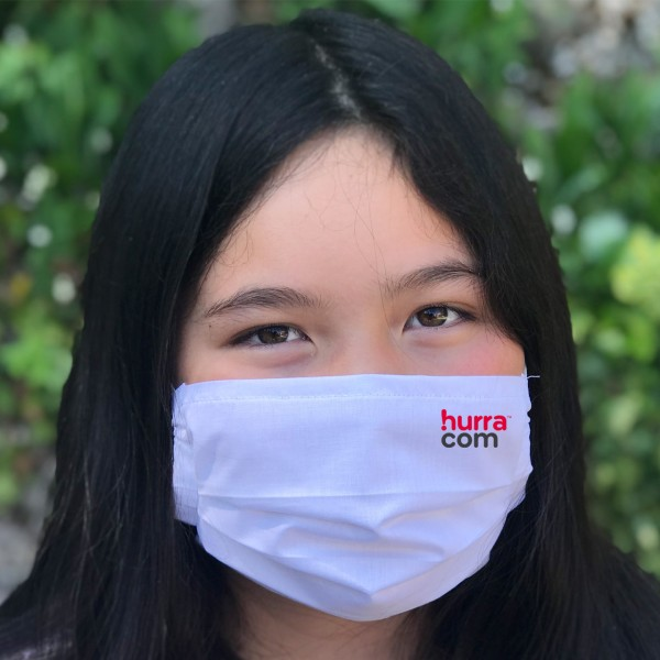 Behelfs-Mund- und Nasenmaske / Behelfs-Mundschutz Weiß mit Logo