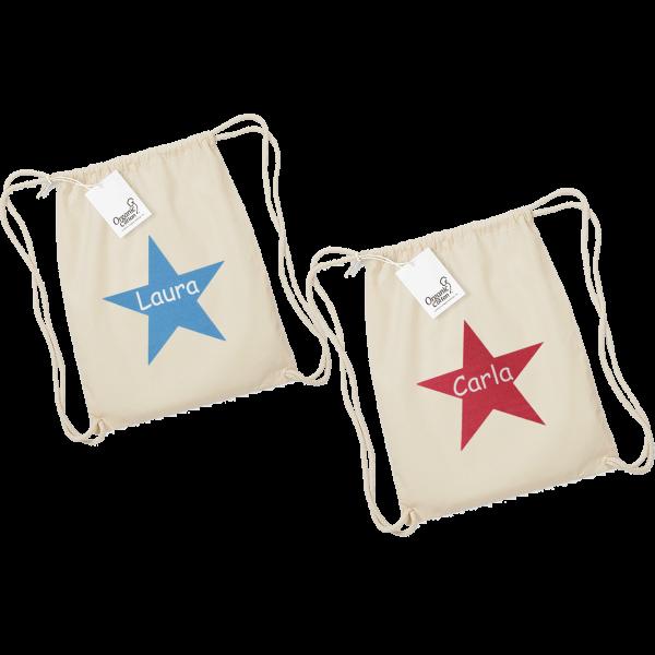 Personalisierbarer Turnbeutel / Kinderbeutel mit Namen + Stern bedruckt (Mädchen/Junge)