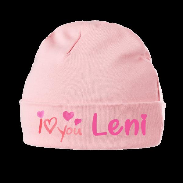 """Babymütze mit Namen """"I Love You"""" (Mädchen / Junge) 0-6 / 6-18 Monate"""