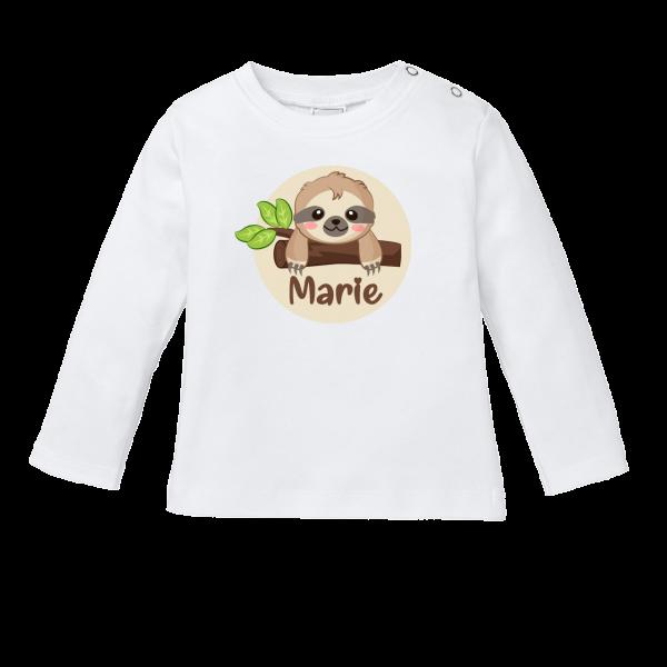 Baby Shirt mit Namen + Faultier bedrucken (T-Shirt + Langarm)