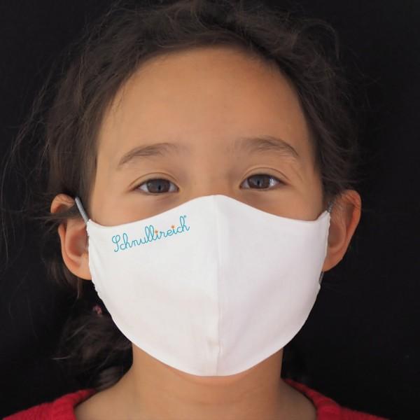 Behelfs-Mund- und Nasenmaske / Behelfs-Mundschutz Weiß Kinder mit Logo