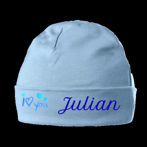 Babymütze mit Namen I love blau Junge