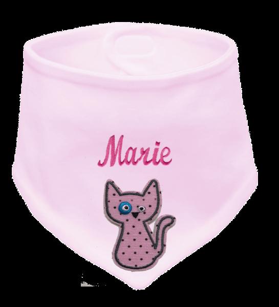 Baby Halstuch rosa Stick mit Katze (Mädchen)