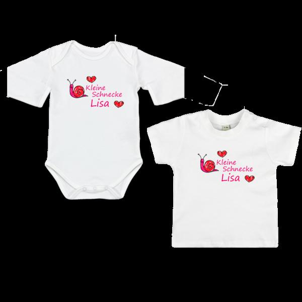 """Baby Body oder T-Shirt  mit Namen + Spruch """"Kleine Schnecke"""" (Mädchen)"""
