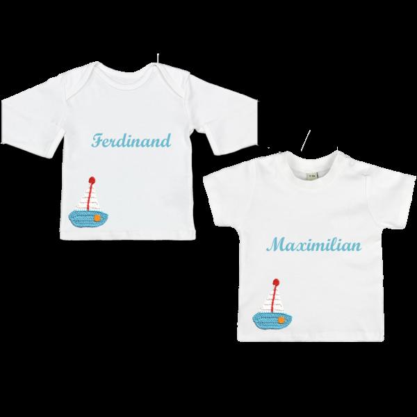 Baby Shirt mit Name blaues Boot Langarm/Kurzarm