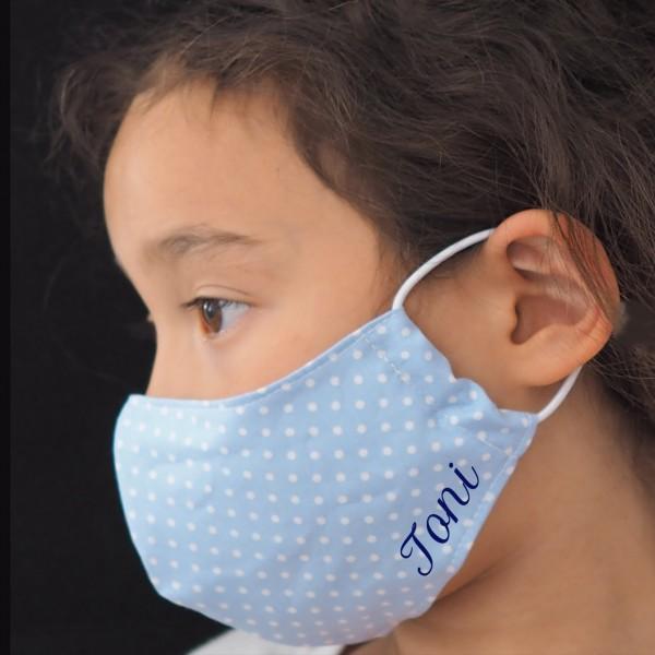 Kinder Behelfs-Mundschutz (Junge / Blaue Punkte) Personalisierbar Schnullireich Kleine-Helden-Maske
