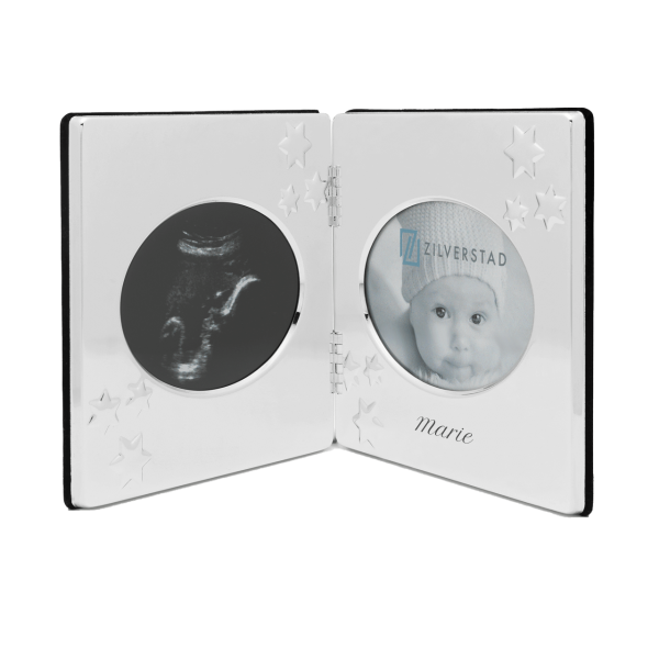 Versilberter Ultraschall-Bilderrahmen Fotorahmen mit Gravur des Namens
