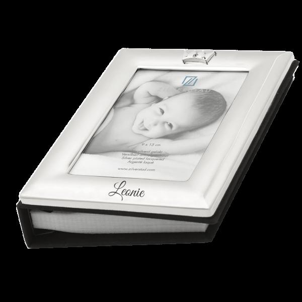 Versilberter Baby Fotoalbum mit Gravur des Namens (Taufgeschenk, Geburtsgeschenk)
