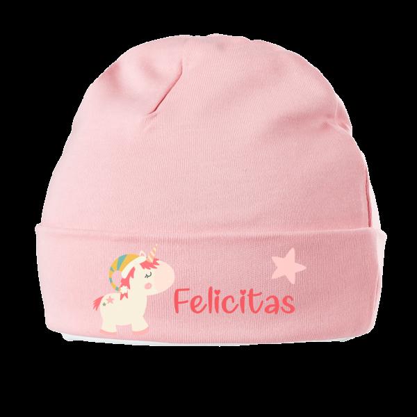 Babymützen mit Namen personalisiert - Einhorn Mädchen Weihnachten 0-6 Monate Erstlingsmütze
