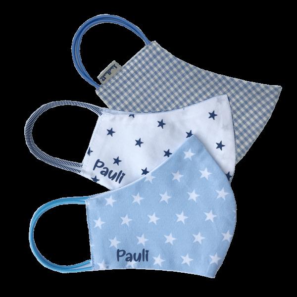 Kinder Behelfs-Mundschutz / Alltagsmaske Junge 3er Set Schnullireich Kleine-Helden-Maske