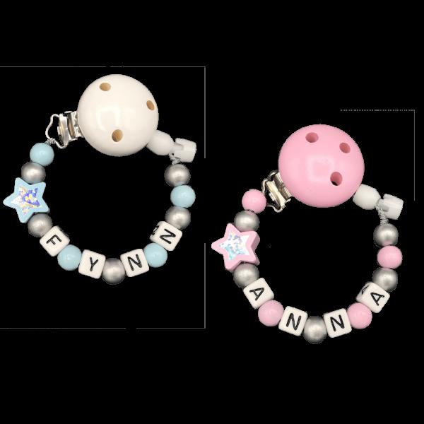 Schnullerkette mit Namen (Junge / Mädchen) Glitzerstern Silberne Perlen