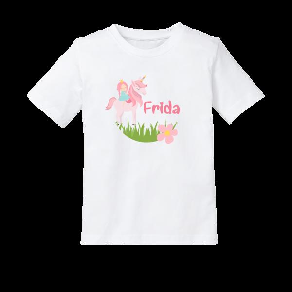 Kinder T-Shirt mit Namen und Einhorn bedruckt (Mädchen) 2-8 Jahre by Schnullireich
