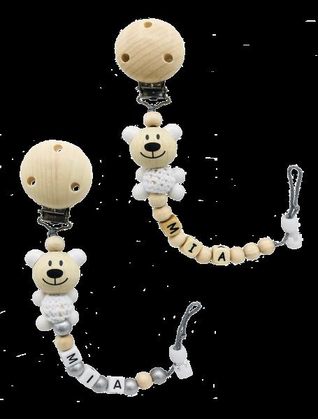 Schnullerkette mit Namen Natur Häkelbär (Junge, Mädchen)