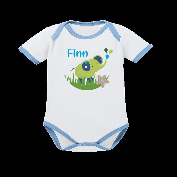 Baby Body mit Namen bedruckt und Elefant Kurzarm (Junge) Blau by Schnullireich