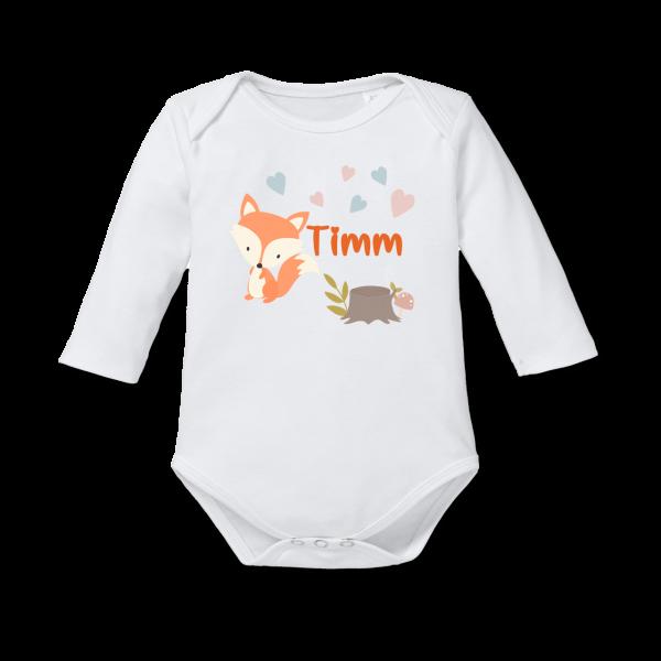Baby Body / Strampler mit Namen bedruckt Fuchs (Junge /Mädchen) Langarm by Schnullireich