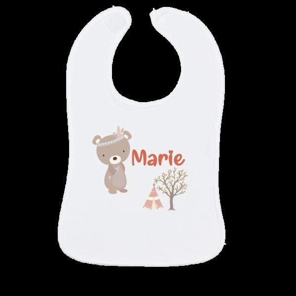 Lätzchen Baby mit Namen + Bär Junge / Mädchen (Weiß)
