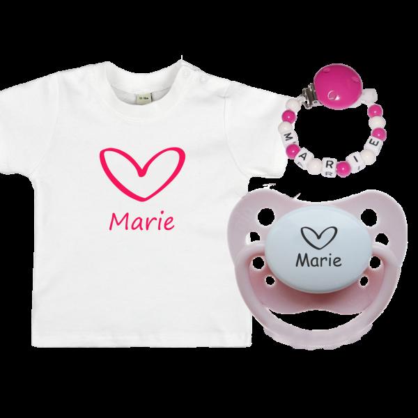 Geschenkset: Namensschnuller + Schnullerkette Namen + Baby T-Shirt mit Herz (Little Sweetheart)