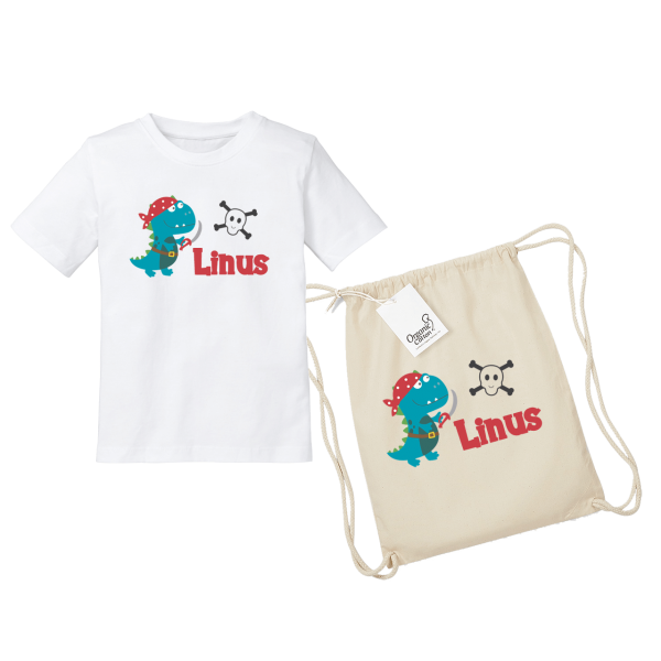Kinder T-Shirt mit Namen / Turnbeutel mit Namen Piraten-Dino bedruckt (Junge) 2-8 Jahre by Schnullireich