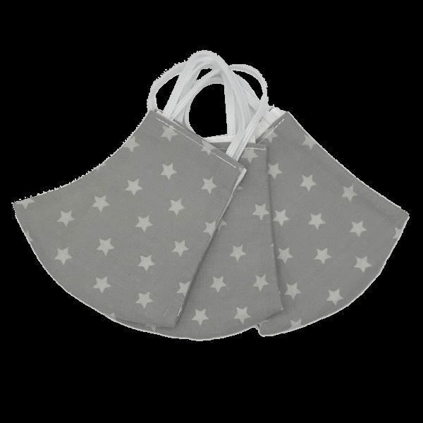 Behelfs-Schutzmasken Tenies / Kinder Grau weiße Sterne (Junge / Mädchen)  Kleine-Helden-Maske Schnullireich